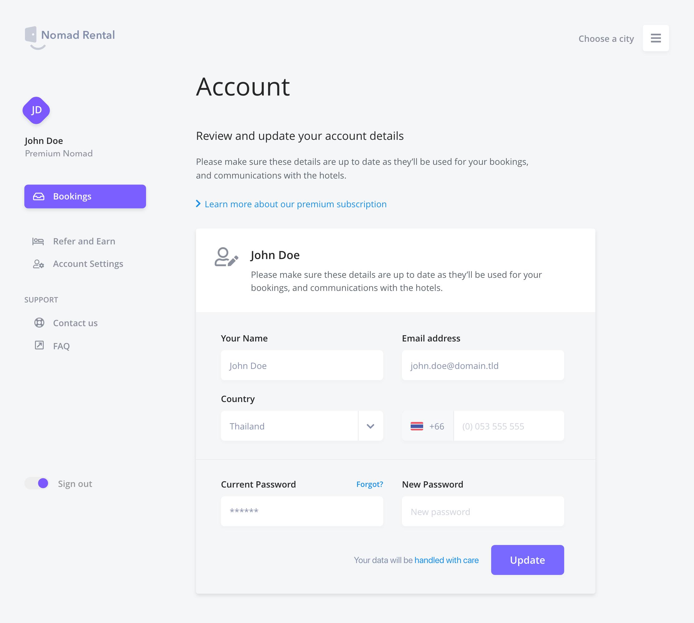 Nomad Rental Account View Web App Design Web Design App Design