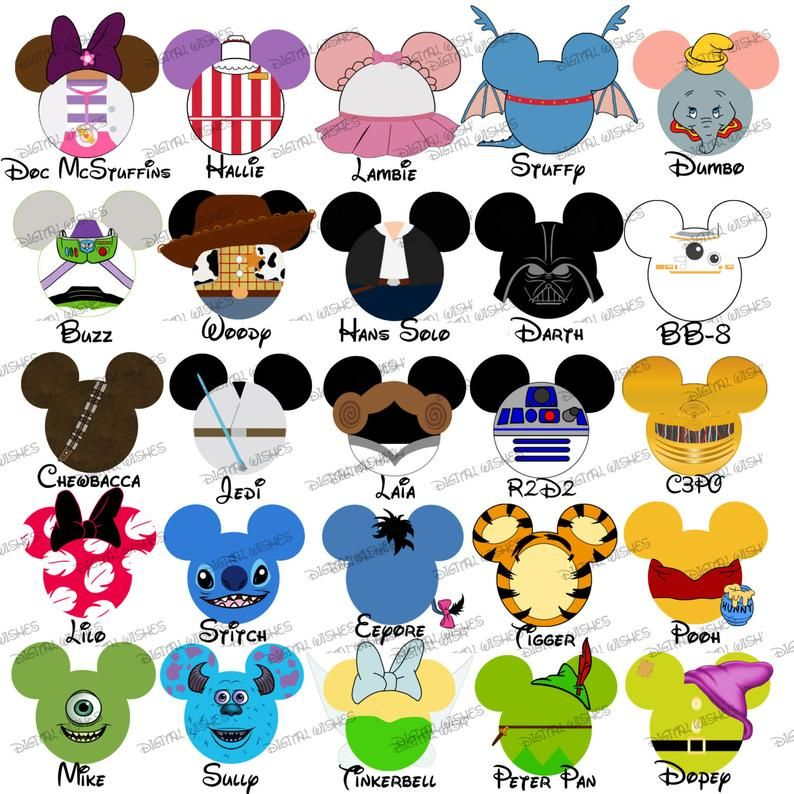 Read the full title 1-8 CHOOSE your Mickey & Minnie Mouse heads ears CUSTOM WDW Family Vacation name digital iron on transfer clip art image diy for Shirt