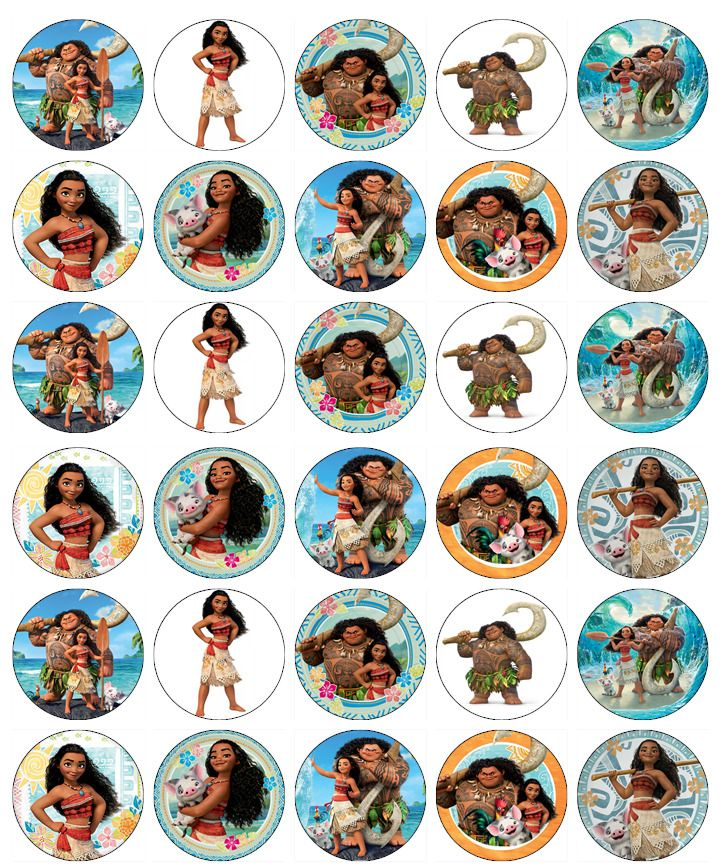 MOANA BIRTHDAY EDIBLE WAFER CUPCAKE FAIRY CAKE TOPPERS DECORATIONS x 30