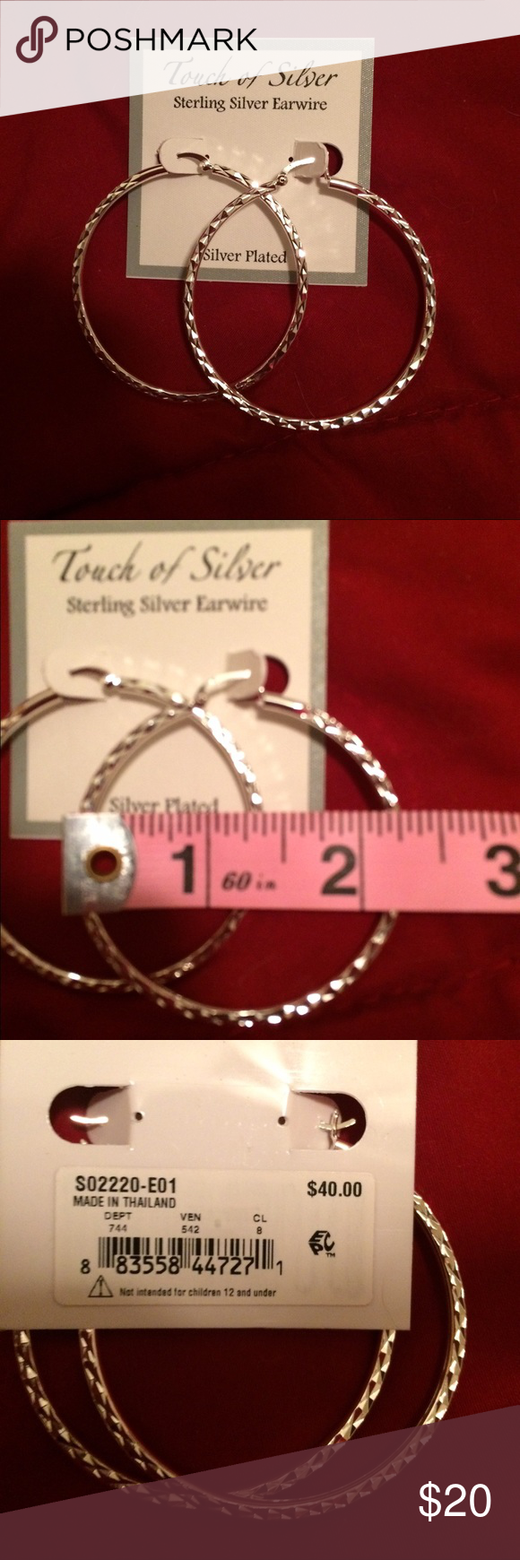 New with Tags Silver Plated Earrings New with tags silver plated earrings from Macy's. Beautiful etching gives them a sparkling effect.  Simple but beautiful. Macy's Jewelry Earrings