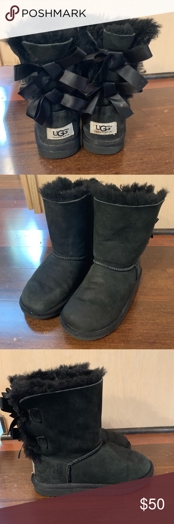 girls bailey bow Ugg boots Excellent condition. Black. Size 13. UGG Shoes Boots #uggbootsoutfitblackgirl