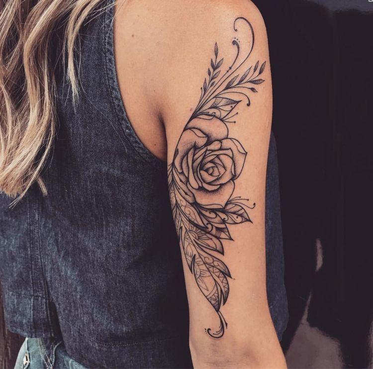 Upper Back Arm Tattoo Gorgeous Tattoos Back Of Arm Tattoo Feather Tattoos