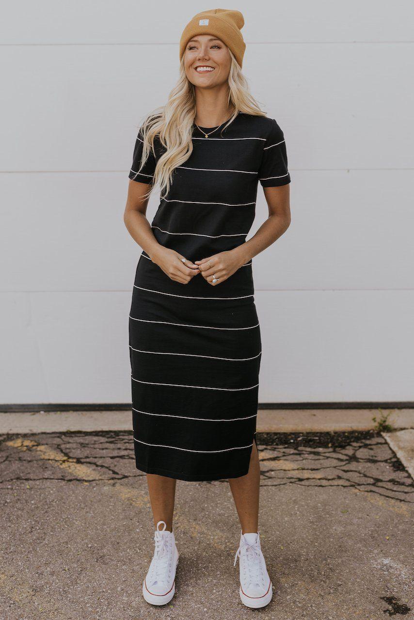 Fall Outfit Ideas Tee Shirt Dresses Dress Ideas Striped Dresses Tee Dress Outfit Casual Dress Outfits Tee Shirt Dress [ 1280 x 854 Pixel ]