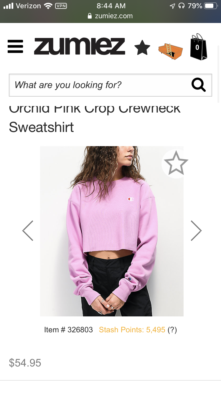 Champion Reverse Weave Orchid Pink Crop Crew Neck Sweatshirt Zumiez Crew Neck Sweatshirt Champion Reverse Weave Sweatshirts [ 1334 x 750 Pixel ]