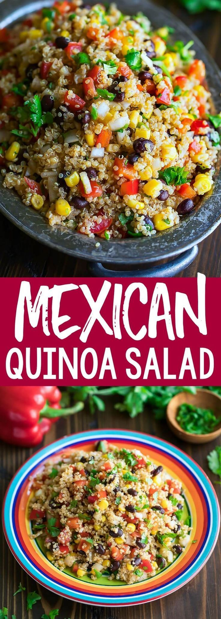 This healthy Mexican Quinoa Salad is a quick, easy, and gloriously make-ahead dish! Tossed in a speedy homemade chili lime dressing, this fiesta quinoa bowl is full of flavor!