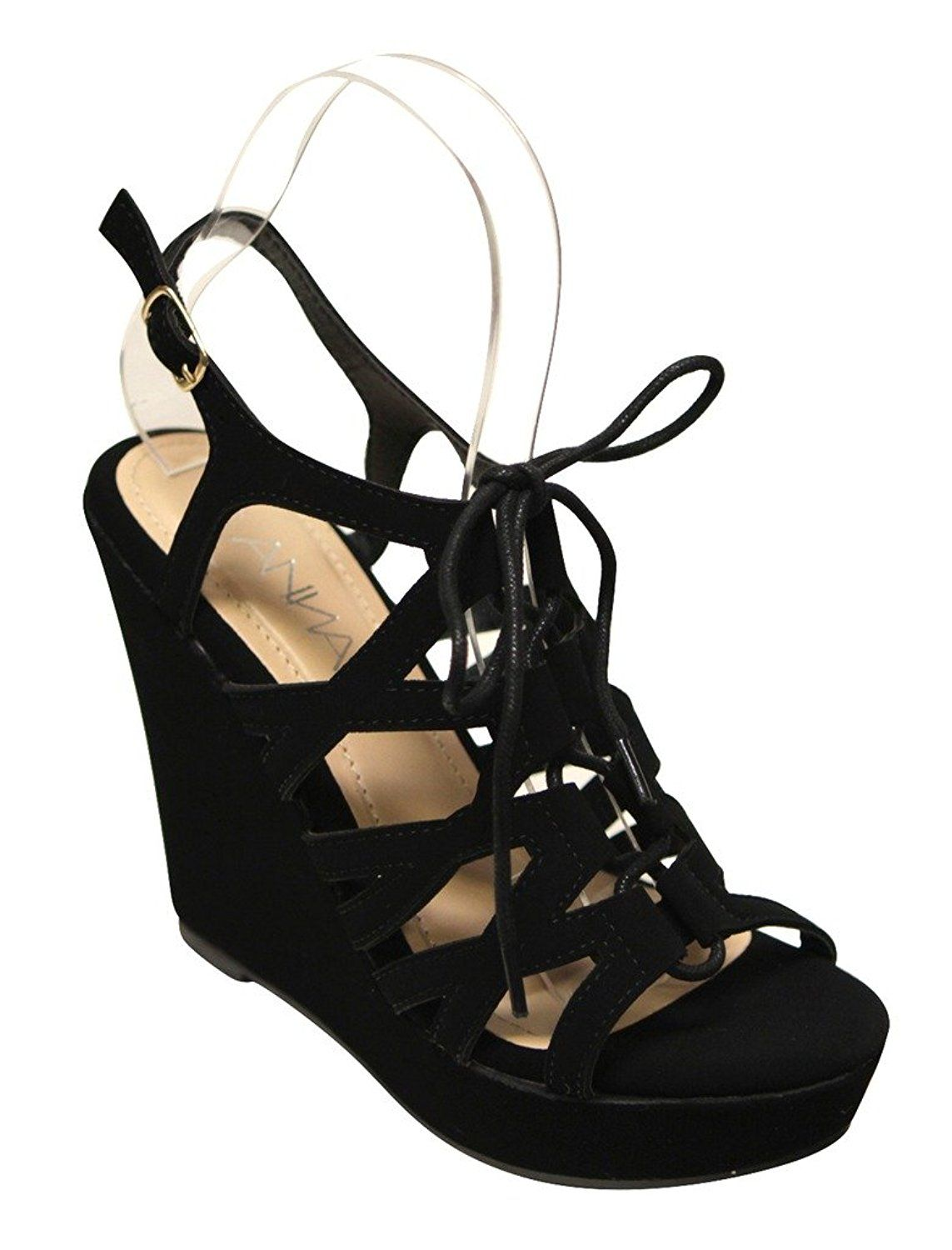 814d3eb41e9230 Anna Paso-2 Women s open toe lace up caged slingback nubuck wedge sandals  -- Visit the image link more details.  sandals