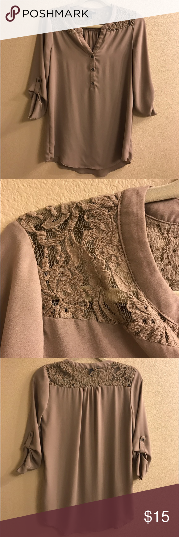 Taupe tunic style blouse Brand new without tags. Size small. Can fit a medium. Tunic style and length. Forever 21 Tops Blouses