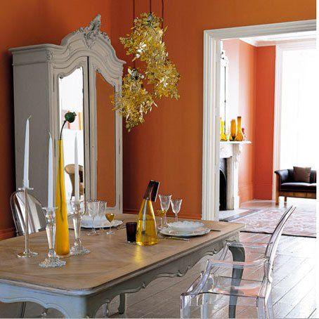 decoration salle a manger salon murs peinture orange meuble style peinture grise