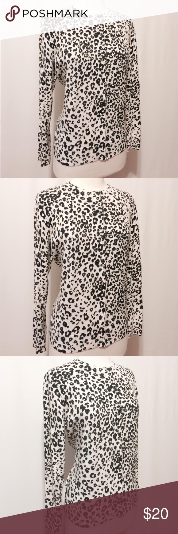 Black & White Animal Flocked Print Cardigans   Snow leopard ...