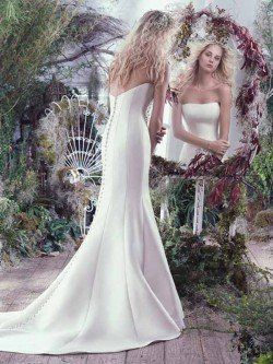 Maggie Sottero Dante mikado fit and flare wedding dress toronto with scoop neckline Back