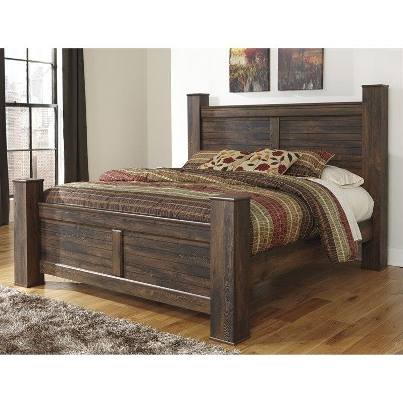 Ashley Furniture Quinden Wood King Poster Panel Bed In Dark Brown