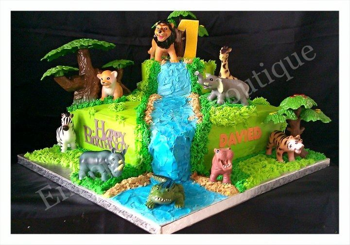 Buttercream Jungle Birthday Cake With Images Jungle Birthday