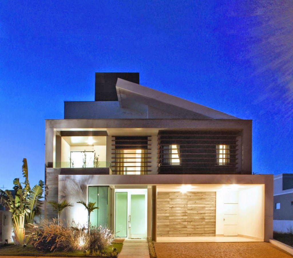 Fachadas de casas modernas com paisagismo e ilumina o for Fachadas de casas modernas en queretaro
