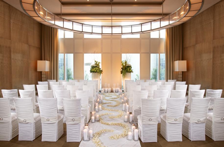 Elegant And Minimal Mandarin Oriental Las Vegas Boardroom Wedding Chapel Set Up