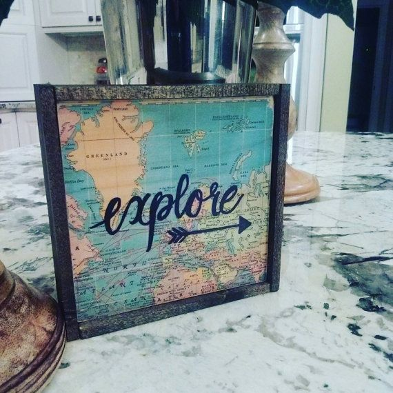 Explore wood sign/Map Decor/mini wood by lakecountrycottage