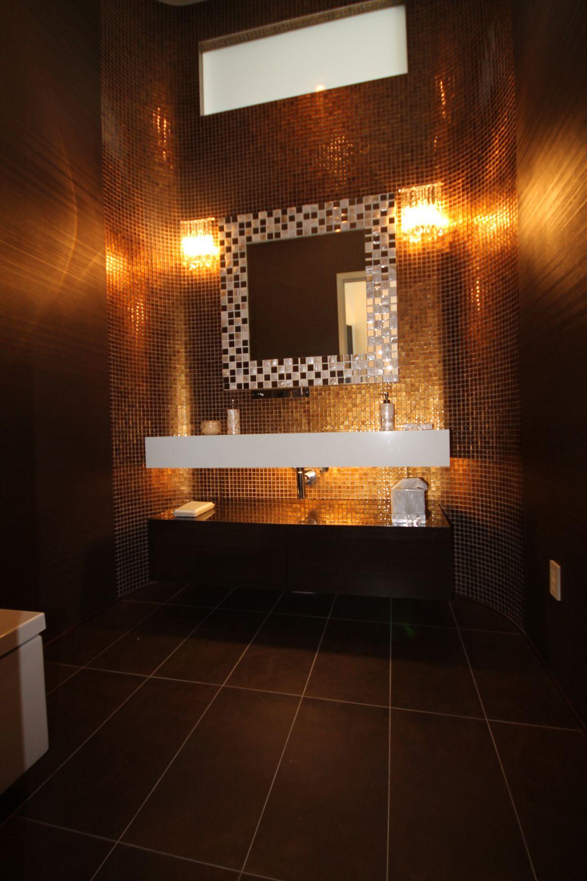 Golden powder room design modern white sink with hidden drain gold glass mosaic also