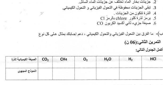اختبار مادة العلوم الفيزيائية السنة 2 الثانية متوسط الجيل الثاني الفصل الأول Education