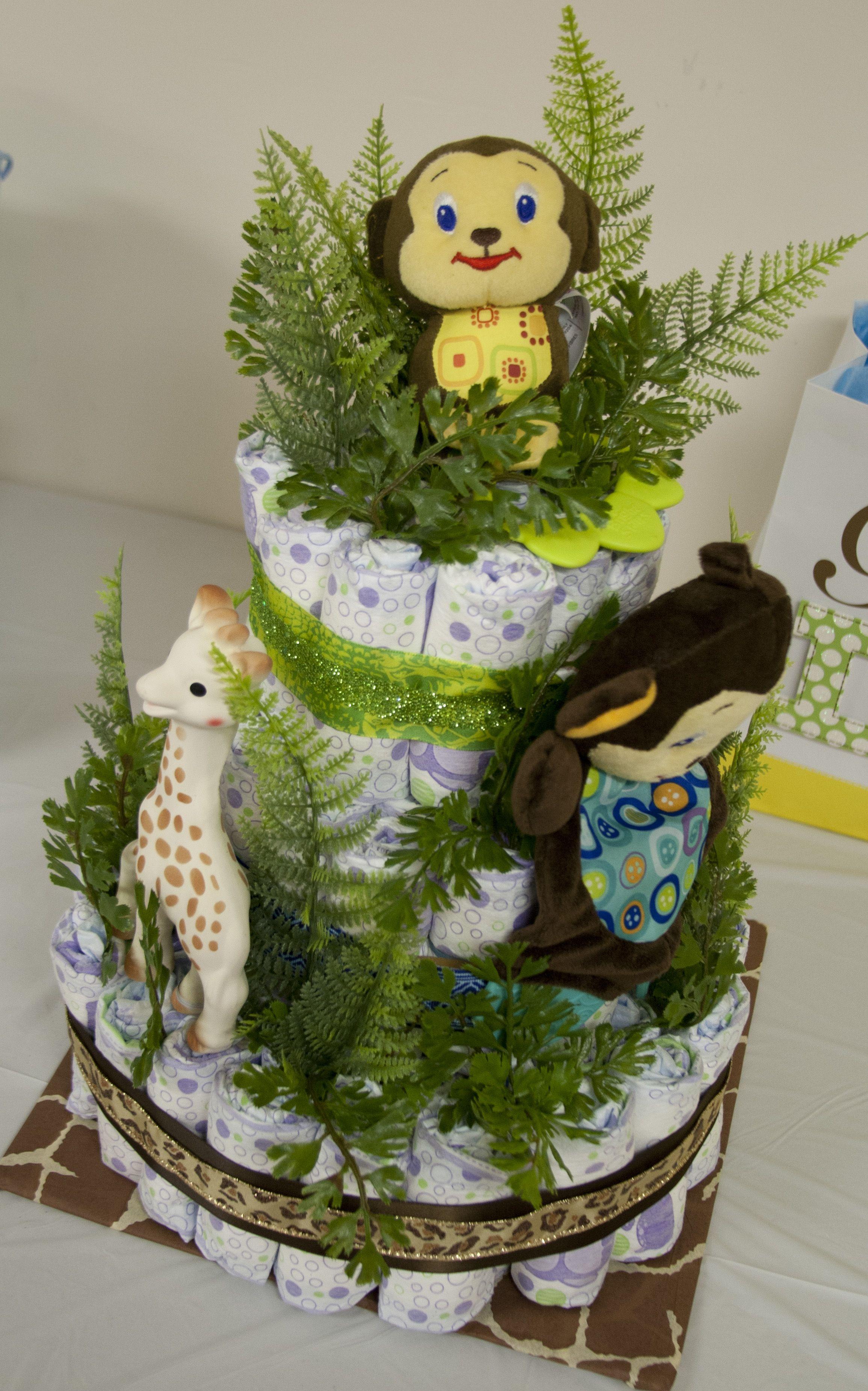 Jungle Theme Baby Shower  Jungle Diaper Cake #Babyshower