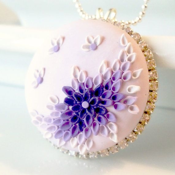 Lovely Lavender  NECKLACE  clay embroidery & rhinestones by Anca Pe'elma, $45.00