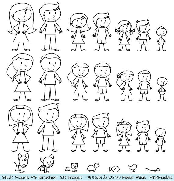 Stick Figures Photoshop Brushes, Stick People, Family and