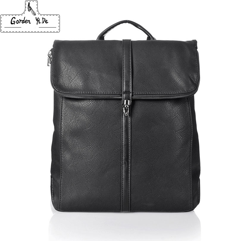 58.47$  Buy here - http://alixaw.worldwells.pw/go.php?t=32711056677 - 2016 Famous Designer Men Stylish Backpacks PU Leather School Bags For Teenagers Large Capacity Vintage Travel Bags Bolsa Mochila 58.47$