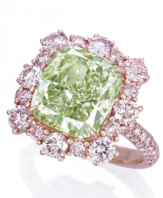 A Rare Coloured Diamond Ring The Cushion Shaped Fancy Intense Green Diamond Weighing 6 13 Carats Within Colored Diamond Rings Pink Diamond Beautiful Jewelry