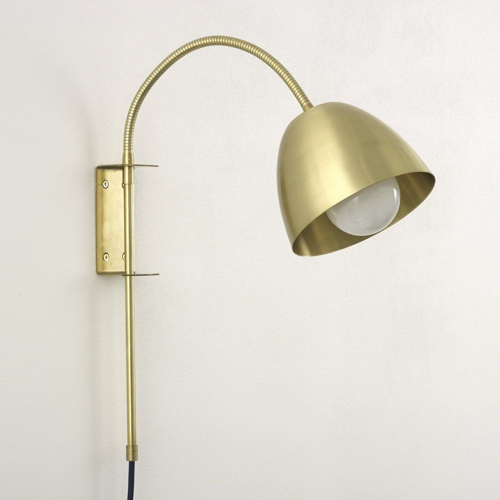 Flexi Neck Swing Lamp With Brass Wall Mount Spark Bell Wall Mounted Bedside Lights Wall Mounted Bedside Lamp Plug In Wall Lights