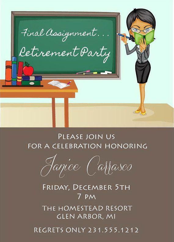 Teacher Retirement Invitation Retirement Party Invite Printable Digital File Retirement Party Invitations Retirement Invitations Teacher Retirement Parties