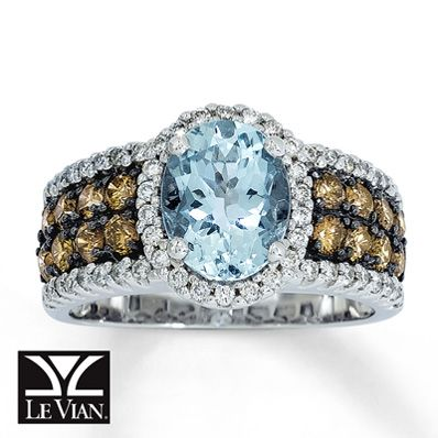 Le Vian Aquamarine Ring 116 ct tw Diamonds 14K Vanilla Gold Le