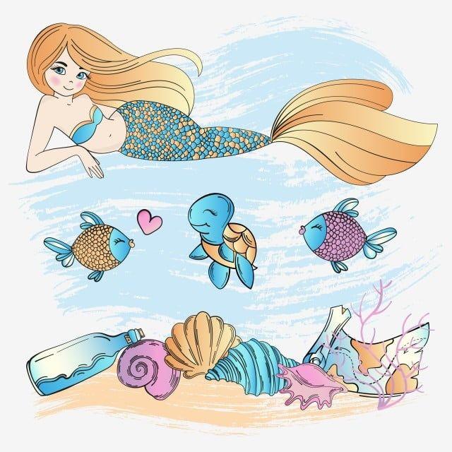 Gambar Kehidupan Laut Duyung Kartun Bawah Air Laut Musim Panas Tropika Bercuti Pelayaran Vektor Ilustrasi Set Untuk Mencetak Kain Dan Hiasan Mermaid Grafik Ik Kartun Animasi Desain Karakter Ilustrasi