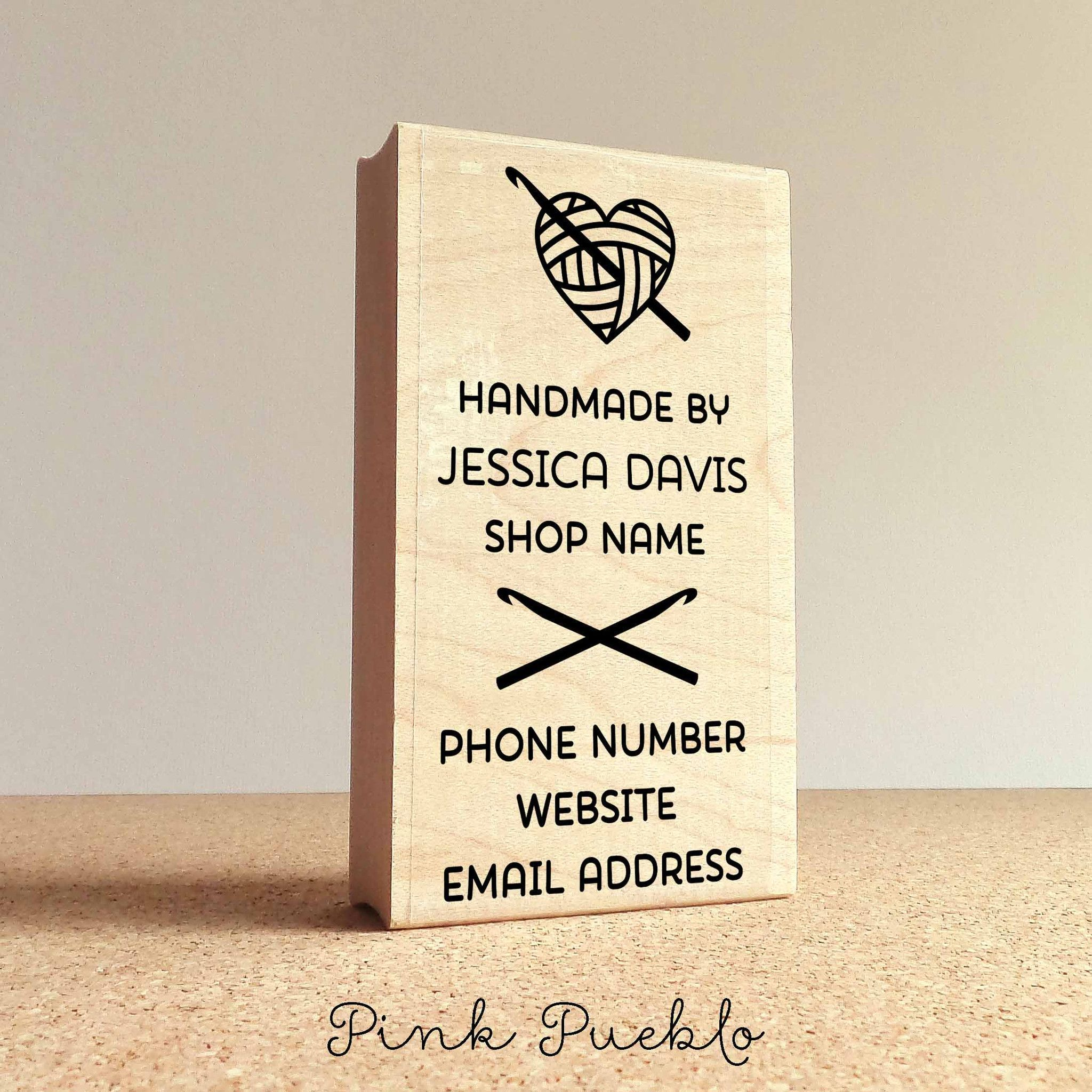 Personalized Crochet Business Card Stamp, Handmade By Business Card ...