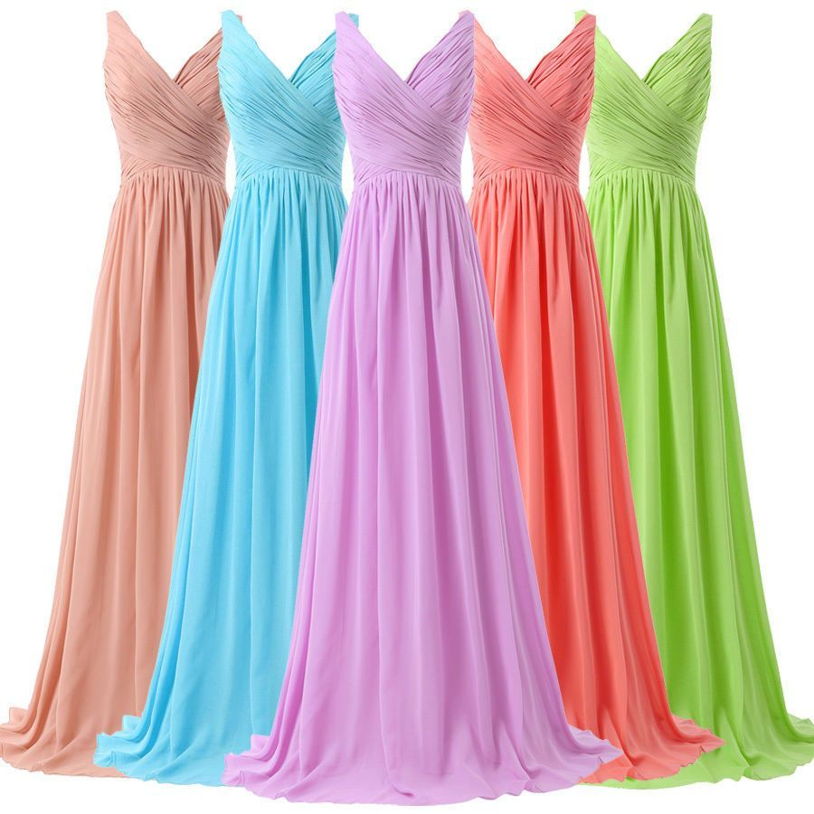 Long Maxi Chiffon Formal Turquoise Evening Dress Bridesmaid Party ...