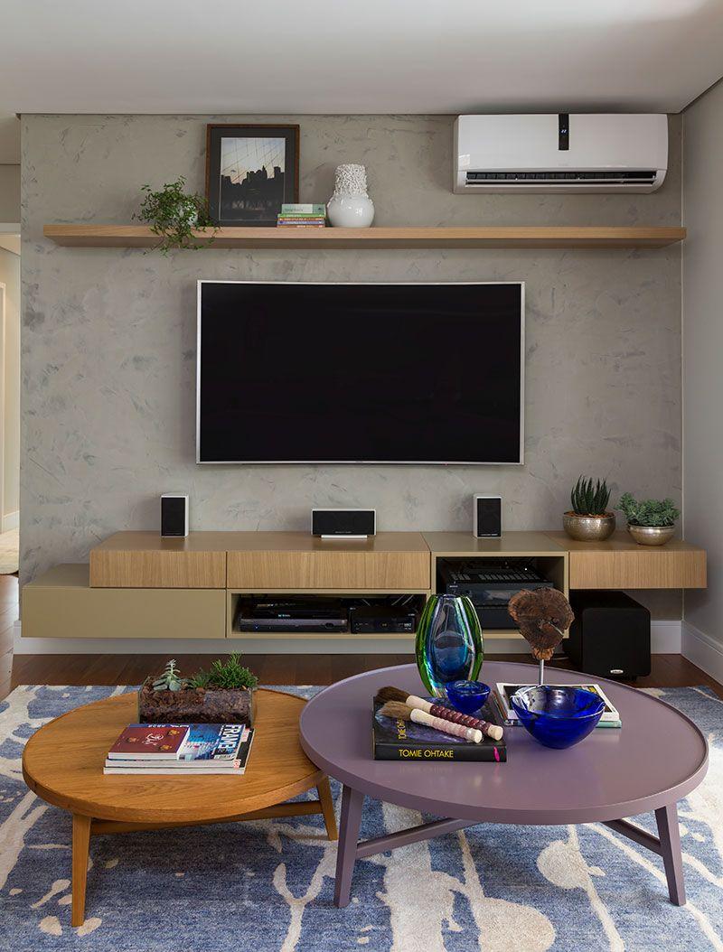 Moderno E Integrado Salas De Tv Sala De Estar Y Moderno -> Vasos Na Sala De Tv