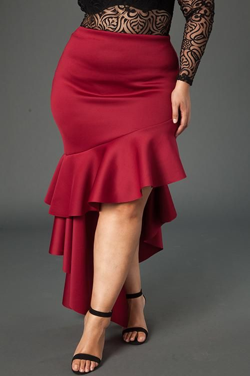 Plus Size Cascade Ruffle Skirt
