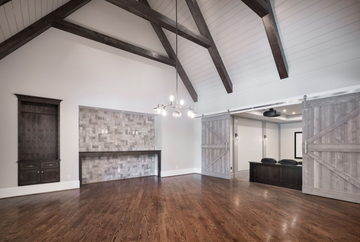 GORGEOUS family room/game room! Shiplap ceiling, exposed beams, barn ...