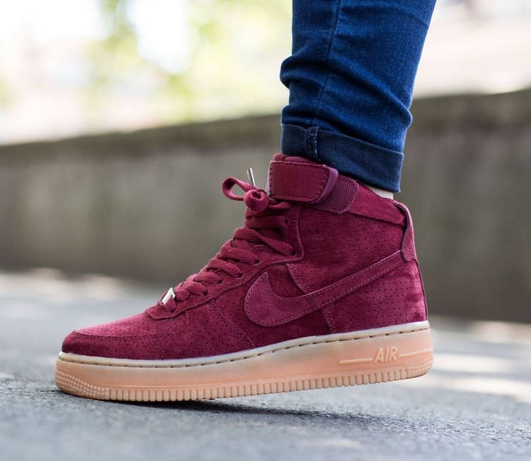 nike air force one high suede burgundy boots