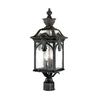 Belmont 3 Light Post Lamp With Clear Seeded Glass Lantern Light Fixture Lamp Post Lights Post Mount Lighting