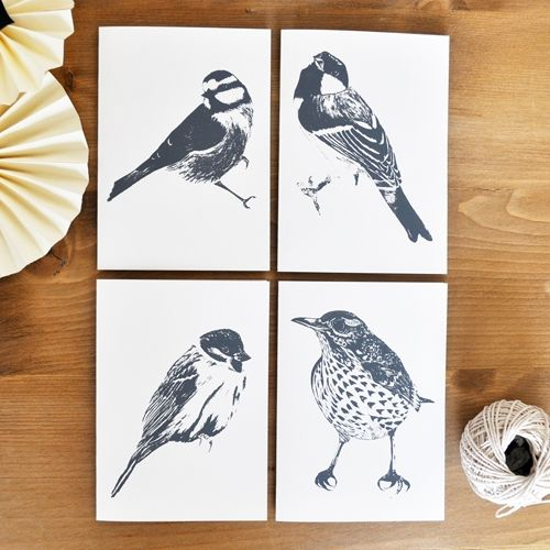 Hand Printed Garden Bird Cards