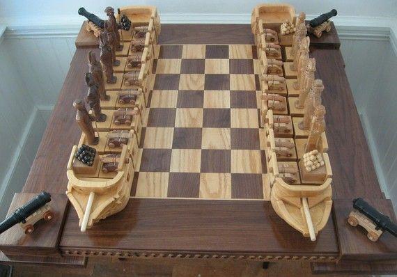 Chess Set War Of 1812 Chess Set Handmade On Etsy Custom Themed Chess Sets And Chess Boards Chess Board Chess Set Themed Chess Sets