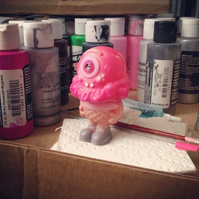 The new colorway of Mr. Melty (painted pink vinyl) coming soon. #buffmonster #vinyltoy