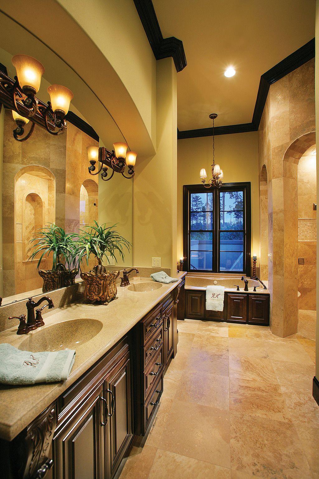 Mediterranean Style House Plan 4 Beds 5 Baths 3031 Sq Ft Plan 930 22 Tuscan Bathroom Decor Tuscan Bathroom Tuscan House