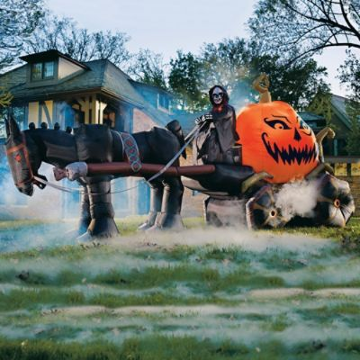 Inflatable Fire and Ice Pumpkin Carriage Fall  Halloween - outdoor inflatable halloween decorations