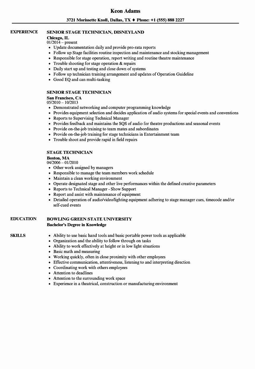 Tech theatre Resume Template Best Of Stage Technician