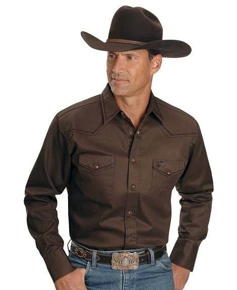 Men S Cotton Canvas Chocolate Brown Western Shirt