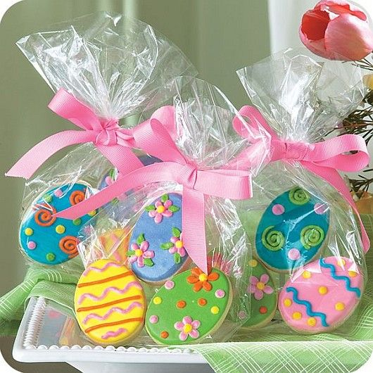 Hand decorated sugar cookie easter party favors wrapped tied hand decorated sugar cookie easter party favors wrapped tied with a bow so they negle Image collections