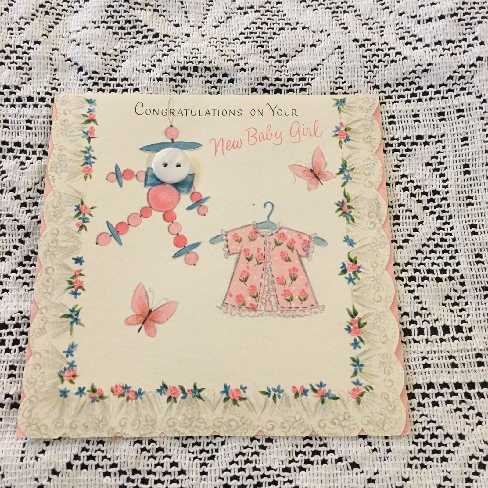 Vintage Greeting Card Baby Congrats Button Face Toy Layette
