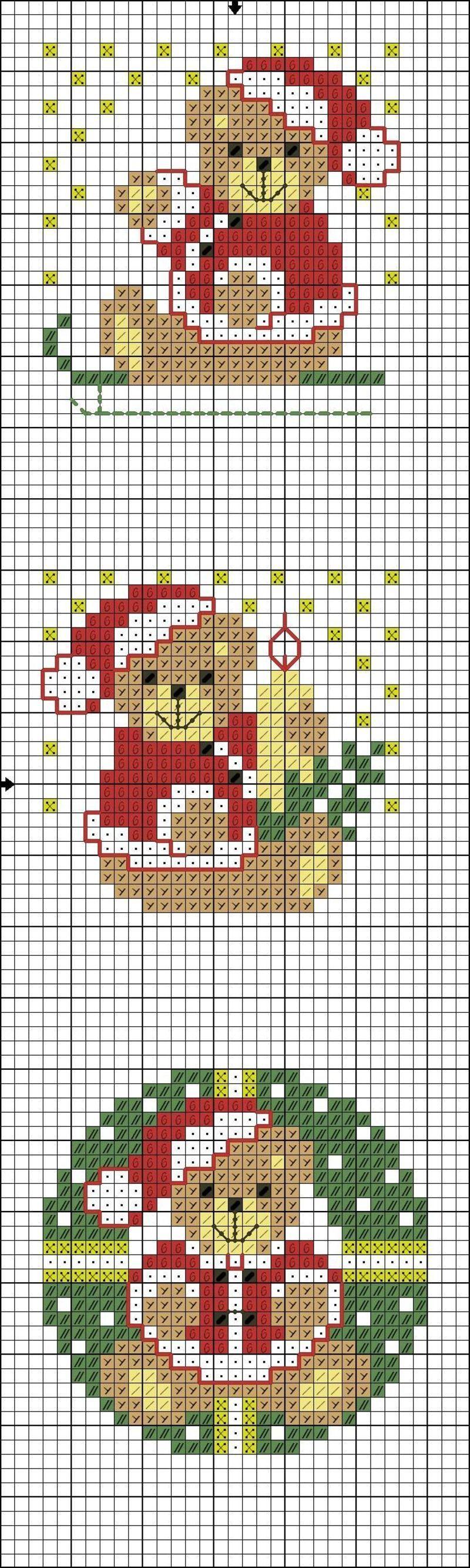Marque-pages oursons de Noël | Point de croix noel, Broderie de noël et Croix en crochet