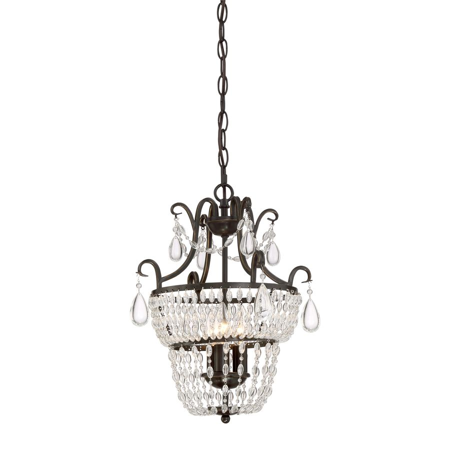 Shop quoizel trista 136 in 3 light oil rubbed bronze crystal quoizel trista oil rubbed bronze crystal hardwired cage mini chandelier at lowes strands of crystal beads and teardrops adorn this european inspired mini arubaitofo Images