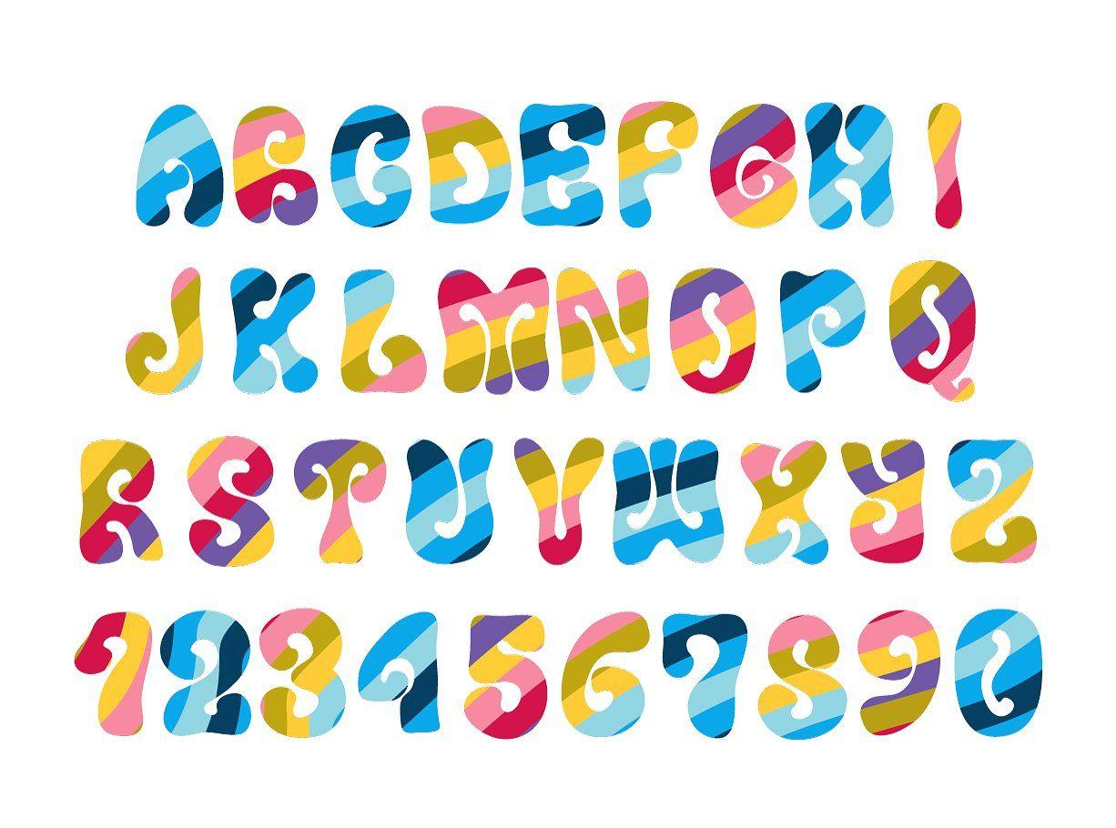 Vintage hippie alphabet on white colorfulpattern