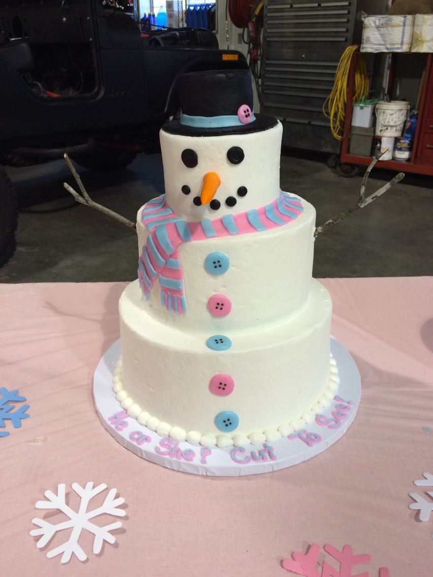 Our Winter Themed Gender Reveal Party Cake Snowman Gender Reveal Cake Christmas Gender Reveal Gender Reveal Party